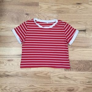 Red and white stripped short sleeve crop top